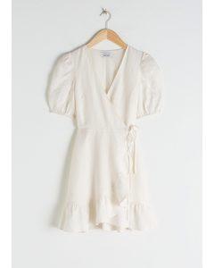 Puff Sleeve Linen Wrap Mini Dress Off-white