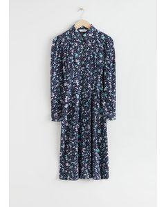 Midi-Hemdkleid mit kleinen Blümchen Blau/Geblümt