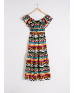 Off The Shoulder Graphic Maxi Dress Graphic Print