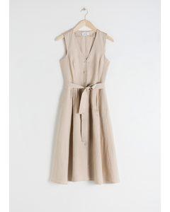 Belted Linen Blend Midi Dress Beige