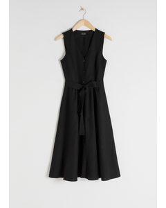 Belted Linen Blend Midi Dress Black