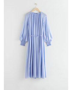 Balloon Sleeve Midi Dress Blue