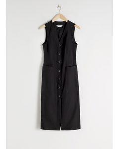 Cotton Blend Button Up Dress Black
