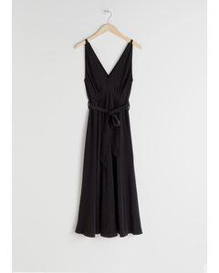 Belted Silk Midi Dress Black