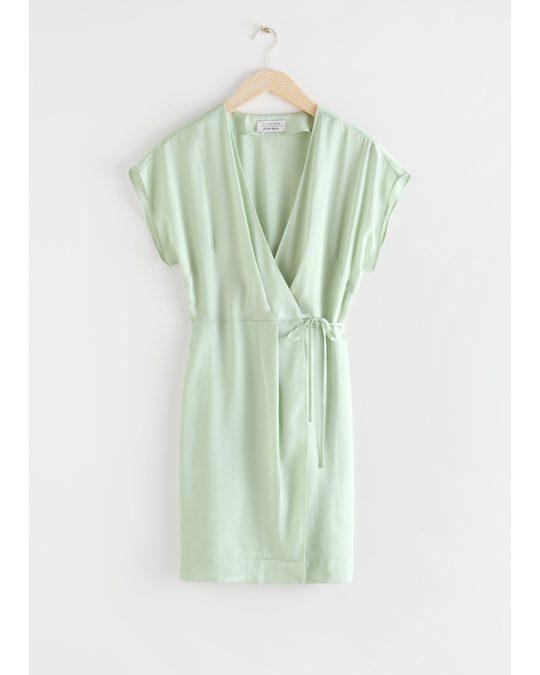 & Other Stories Sleeveless Wrap Dress Light Green