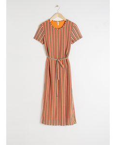 Belted Striped T-shirt Dress Stripe