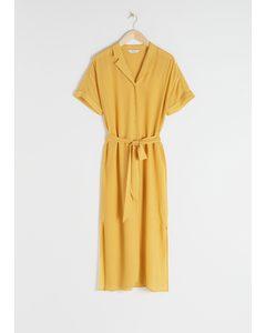Belted Midi Shirt Dress Yellow