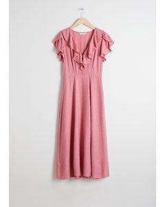 Ruffle Lapel Midi Dress Pink