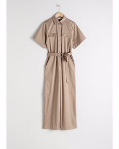 Belted Cotton Workwear Boilersuit Beige