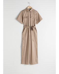 Belted Cotton Workwear Boilersuit Beige