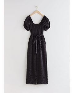 Smocked Jacquard Jumpsuit Black