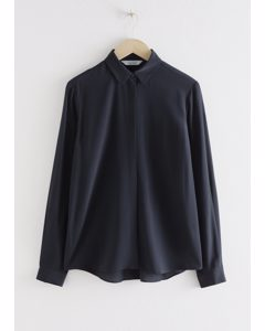 Straight Fit Silk Shirt Navy