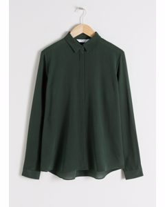 Straight Fit Silk Shirt Green