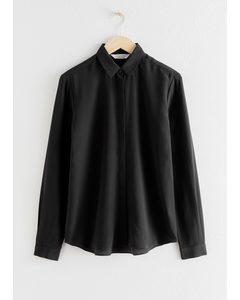 Straight Fit Silk Shirt Black