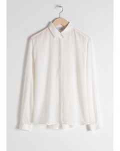 Straight Fit Silk Shirt White
