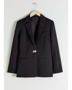 Seashell Button Oversized Blazer Black