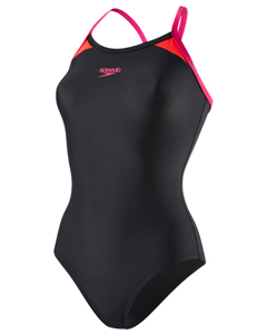 Splice Thinstrap Racerback Af - Black/electric Pink/lava Red