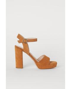 Sandaletter I Mocka Ljusbrun