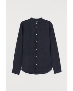 Linneskjorta Regular Fit Mörkblå