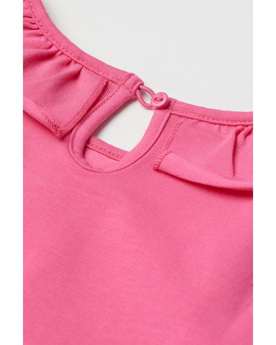 H&M Jerseykleid mit Volant Cerise
