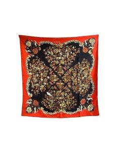 Hermes Vintage Red Silk Scarf Aladin 1972 Francoise Heron