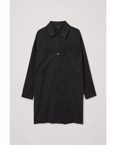 Longline Patch Pocket Shirt Black