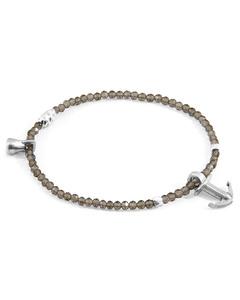 Anchor & Crew Grey Smokey Quartz Tropic Silver And Stone Bracelet