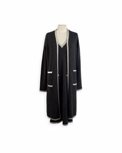 Chanel Gray Cashmere Long Cardigan And Dress Set Size 42