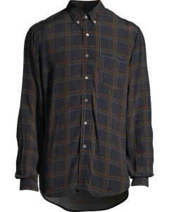 Button Shirt Dk Blue Chain Print