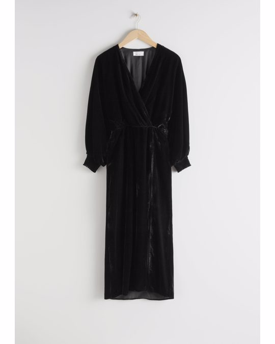 & Other Stories Velvet Side Slit Midi Dress Black