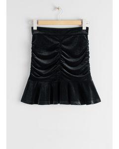 Gathered Velvet Ruffle Mini Skirt Black