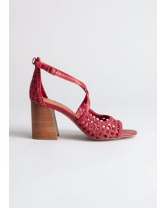 Woven Leather Heeled Sandals Red