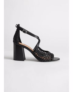 Woven Leather Heeled Sandals Black
