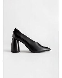 Flared Block Heel Leather Pumps Black