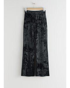 Tailored Velvet Trousers Black