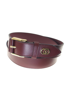 Gucci Interlocking G Leather Belt Red