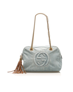 Gucci Soho Denim Shoulder Bag Blue