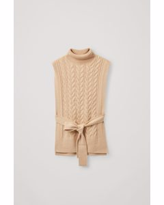 Cable Knit Roll-neck Belted Vest Beige