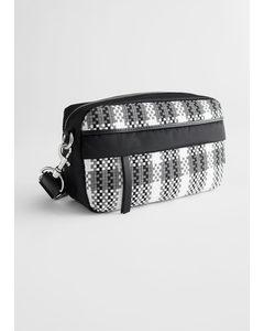 Braided Nylon Crossbody Bag Black / Grey