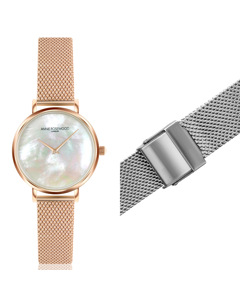 Iris Ultra Thin Rose Gold  Watch With Extra Strap