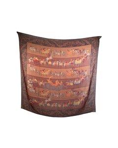 Salvatore Ferragamo Vintage Brown Wool Shawl Large Scarf