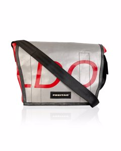 Freitag Red And Silver F12 Dragnet Messenger Classic Bag