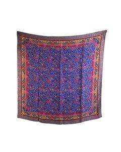 Fendi Vintage Blue Jacquard Silk Scarf Paisley Pattern