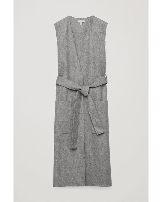COS Sleeveless Wrap Dress With Belt Light Grey