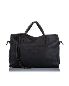 Balenciaga Motocross Blackout City Satchel Black