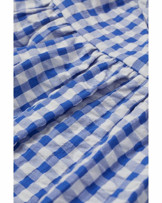 H&M Flounce-detail Dress Blue/gingham Checked
