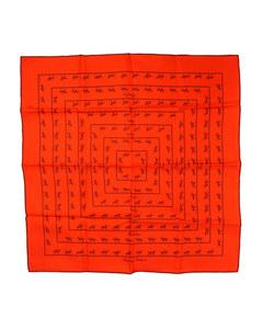 Hermes Allures Silk Pocket Square Orange