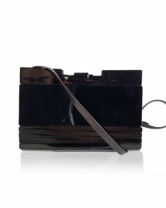 Fendi Vintage Black Lucite And Leather Clutch Shoulder Bag