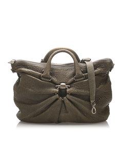 Ferragamo Embossed Leather Travel Bag Green