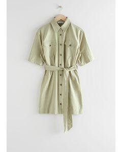 Belted Shirt Mini Dress Khaki Green